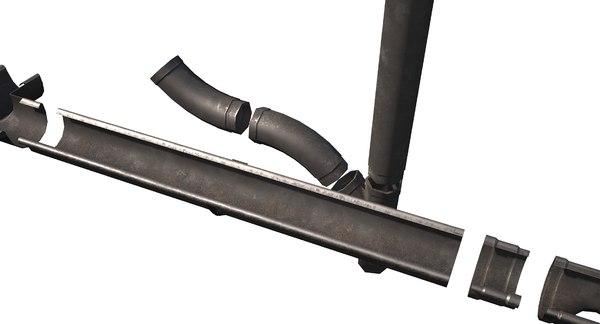 3D pbr steel gutter model