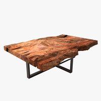 3D wooden block coffee table model