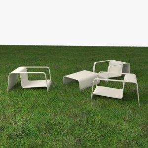 garden chair table wood 3D