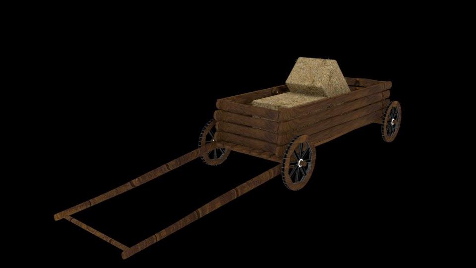old cart hay bale 3D model