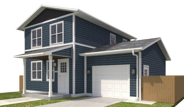 3D home building exterior house