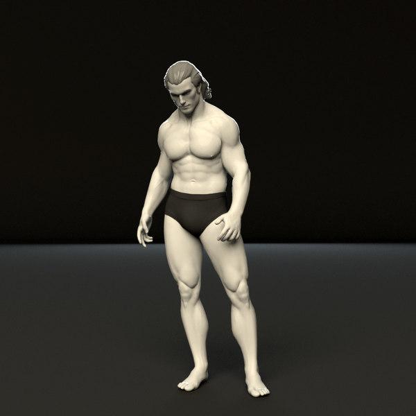 3D rigged humanik