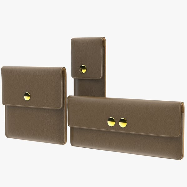 3 leather pouch cases 3D model