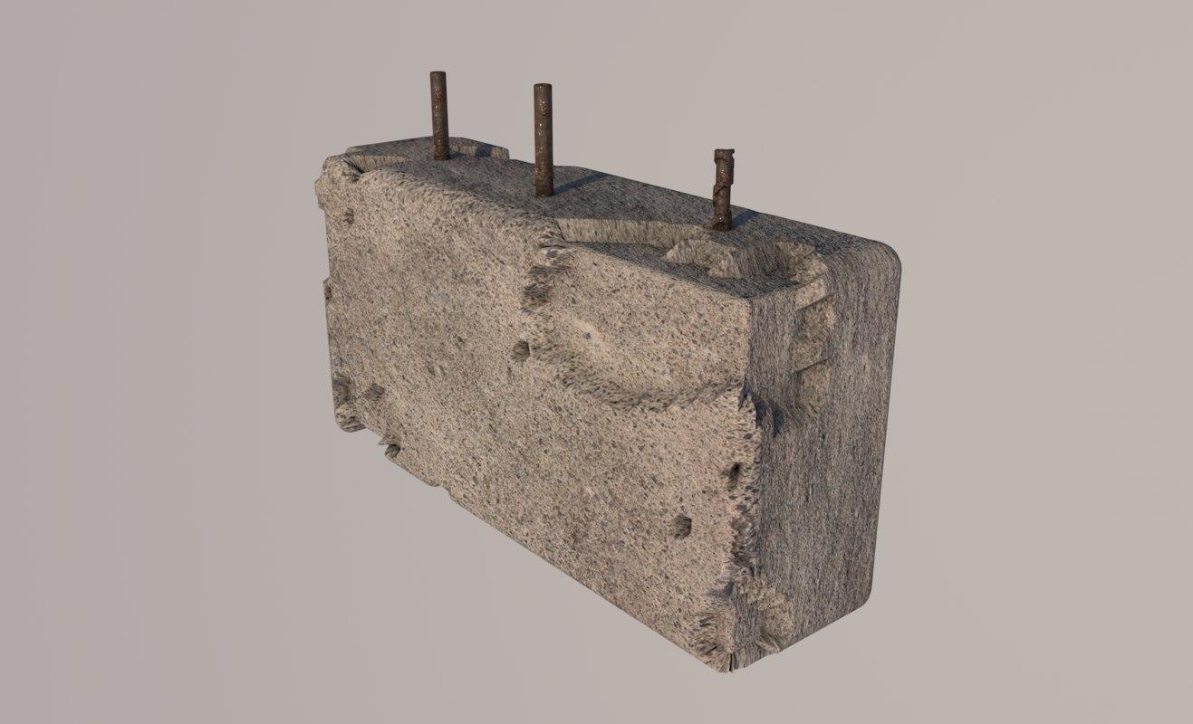 3D damaged concrete block model