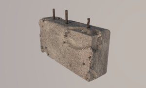 3D damaged concrete block model