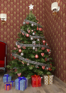3D christmas tree red model