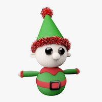 3D knitted elf christmas decoration