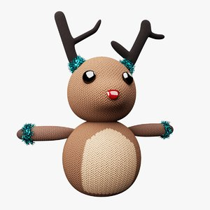 3D model knitted reindeer christmas decoration