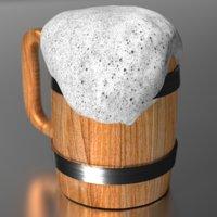 3D wooden mug beer model