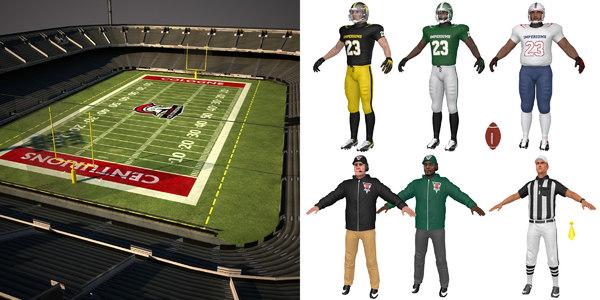 football pack stadium coach 3D model