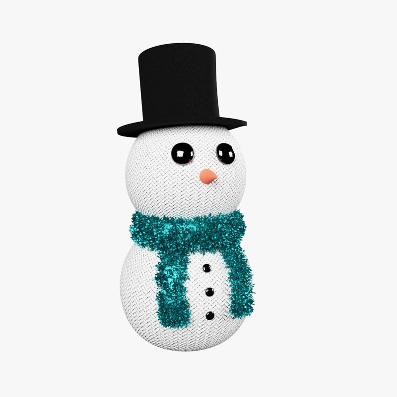 3D model knitted snowman christmas decoration