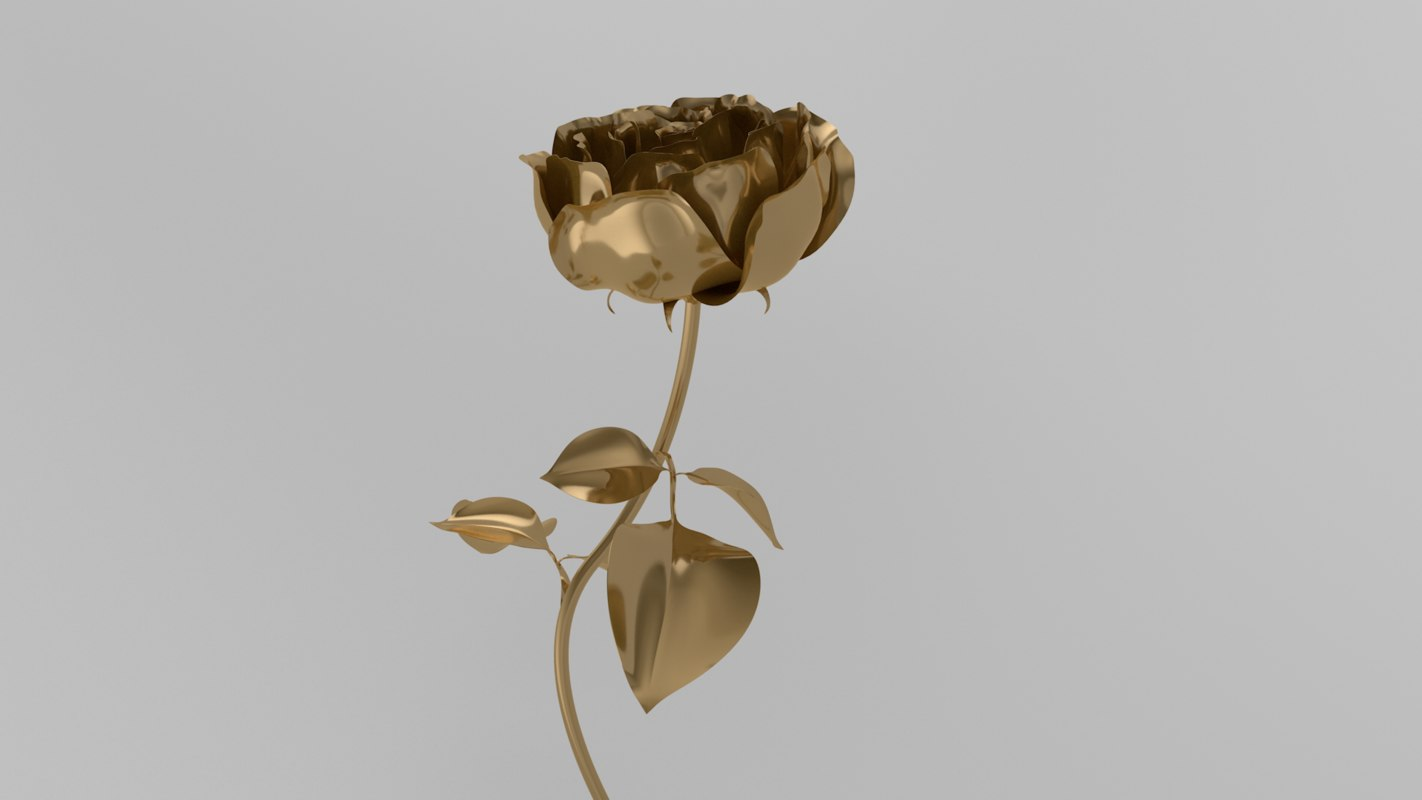 3D rose blossom animation model