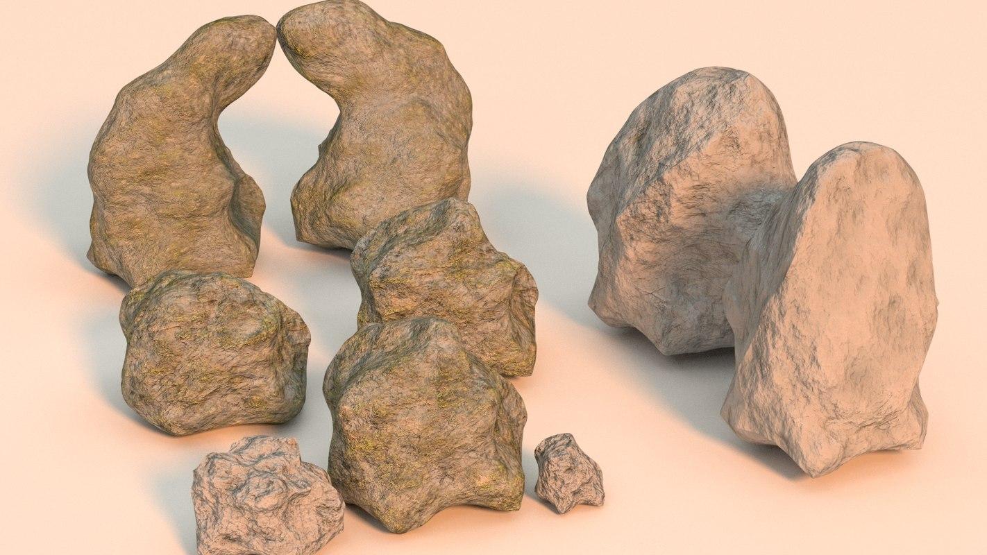 rocks moss pack 3D model