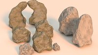 Realistic mossy and cleaned rocks pack