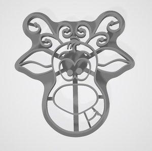 3D model cookie cutter deer