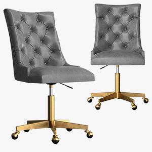 martine adjustable leather desk chair 3D model