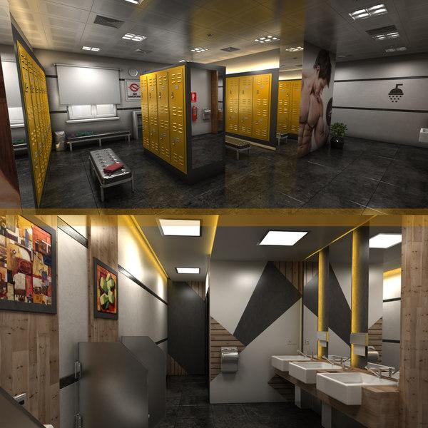 3D locker room interior design model