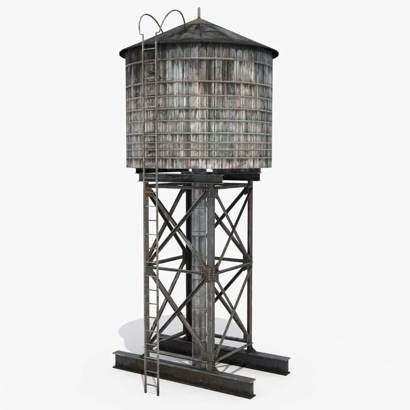 3D rooftop water tower