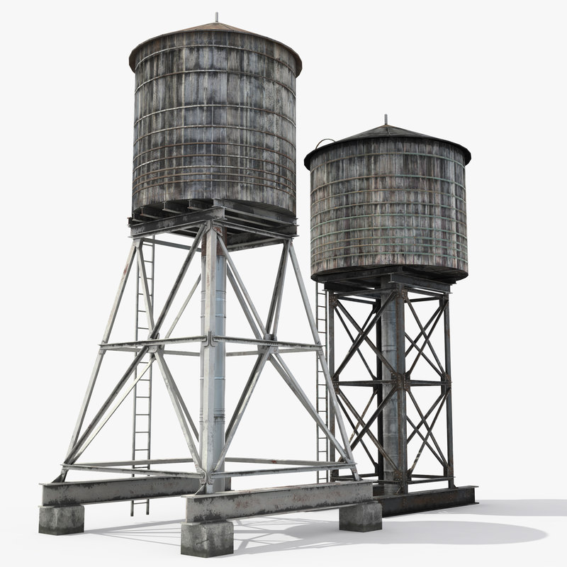 rooftop water towers 3D