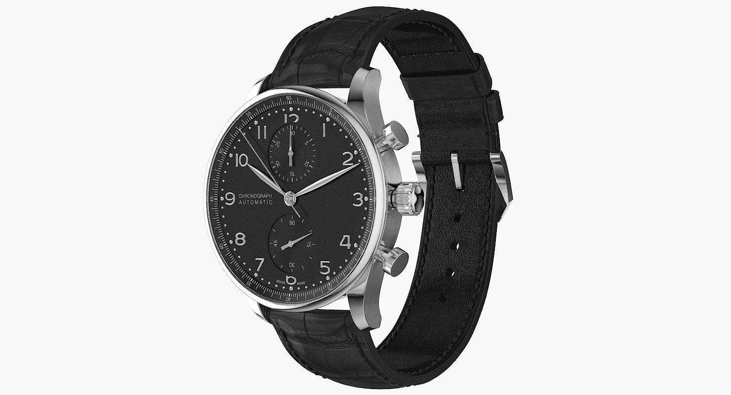 realistic chronograph watch 3D model