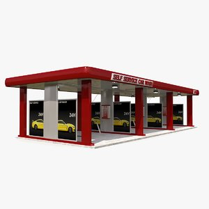 self-service car wash 3D model