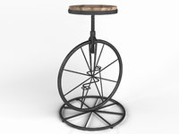 Vintage Industrial Charles Bicycle Wheel Barstool with wooden seat iron pedal height adjustable chair
