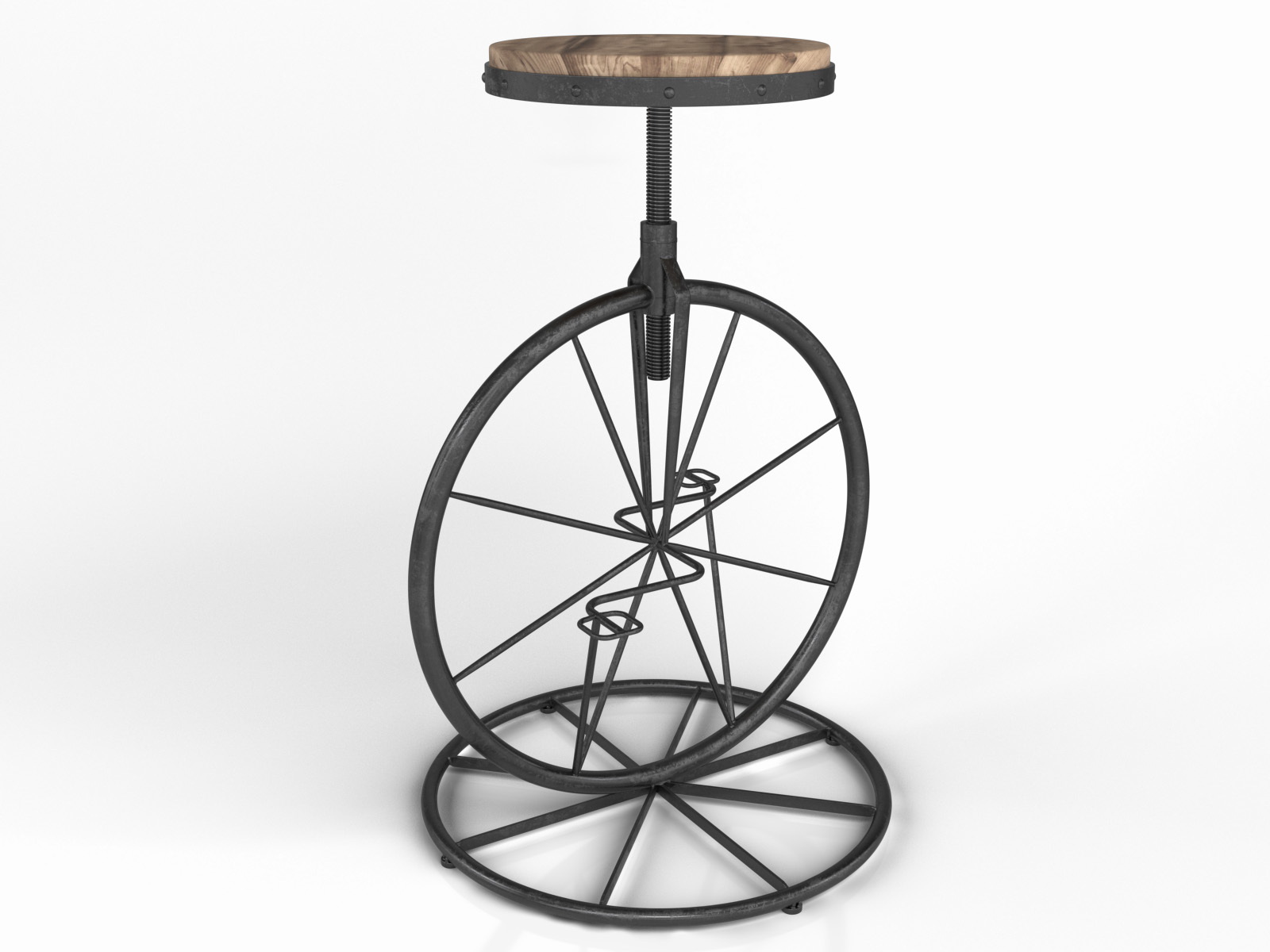 Fantastic Vintage Industrial Charles Bicycle Wheel Barstool With Wooden Seat Iron Pedal Height Adjustable Chair Evergreenethics Interior Chair Design Evergreenethicsorg