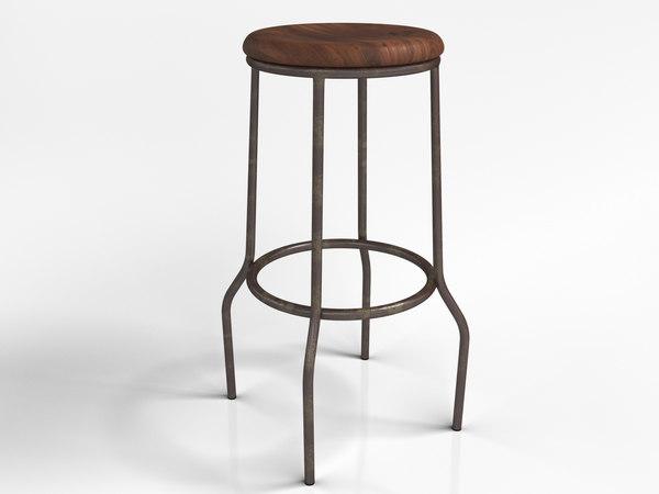 3D essex barstool wooden seat model