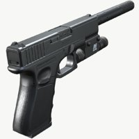 Glock 19 Tactical (Triple A) Low Poly PBR