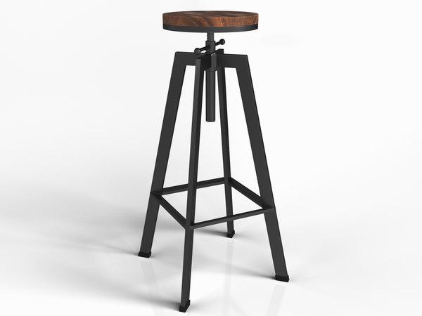 3D vintage industrial counter barstool model