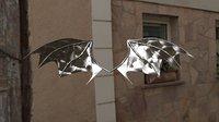 metallic demon wings 3D