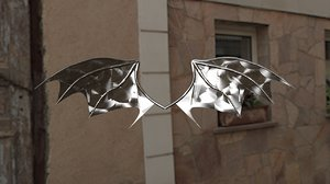 metallic demon wings 3D