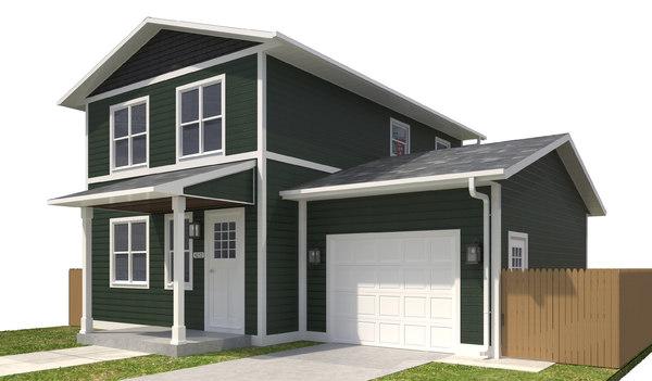 3D home building exterior house model