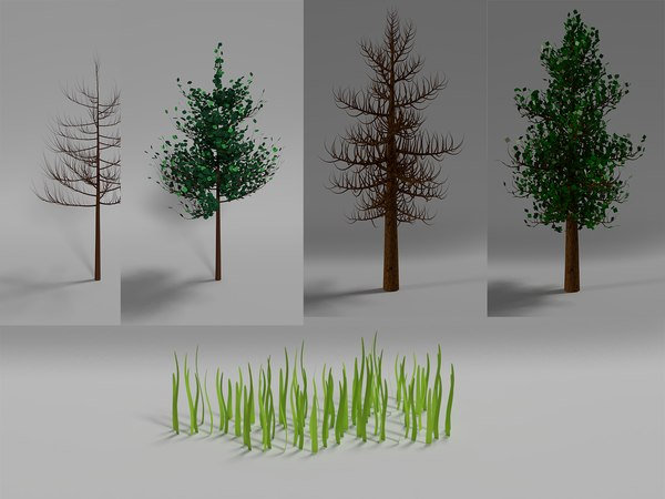 package trees leaves 3D model