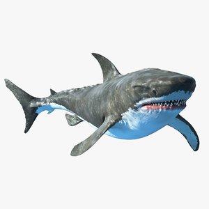 rigged megalodon shark 3D model
