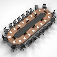 3D model meeting table screen