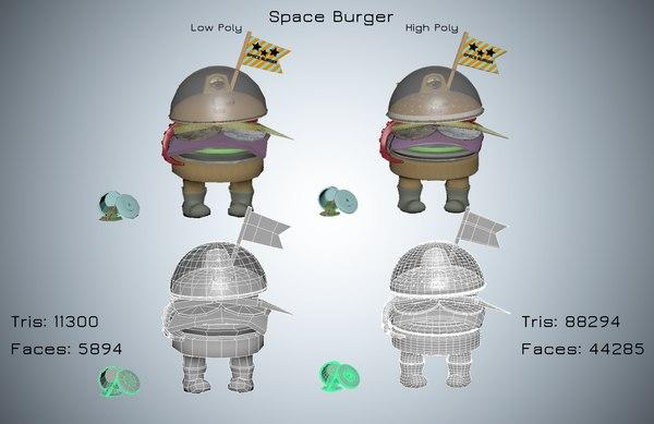 3D space burger model