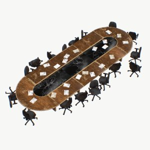 meeting table damaged office chairs 3D