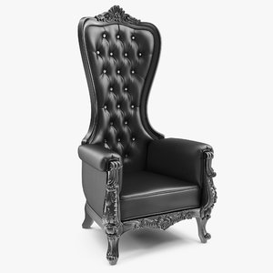 tall throne chair black leather 3D model