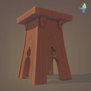 3D model stool tudor