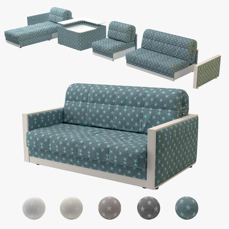 3D accordion sofa model
