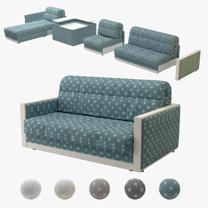 3D accordion sofa model