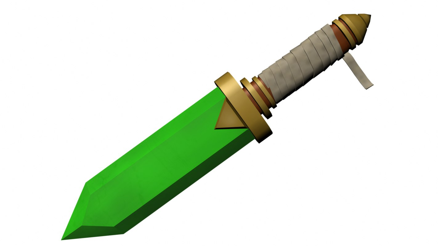 toon emerald dagger 3D model