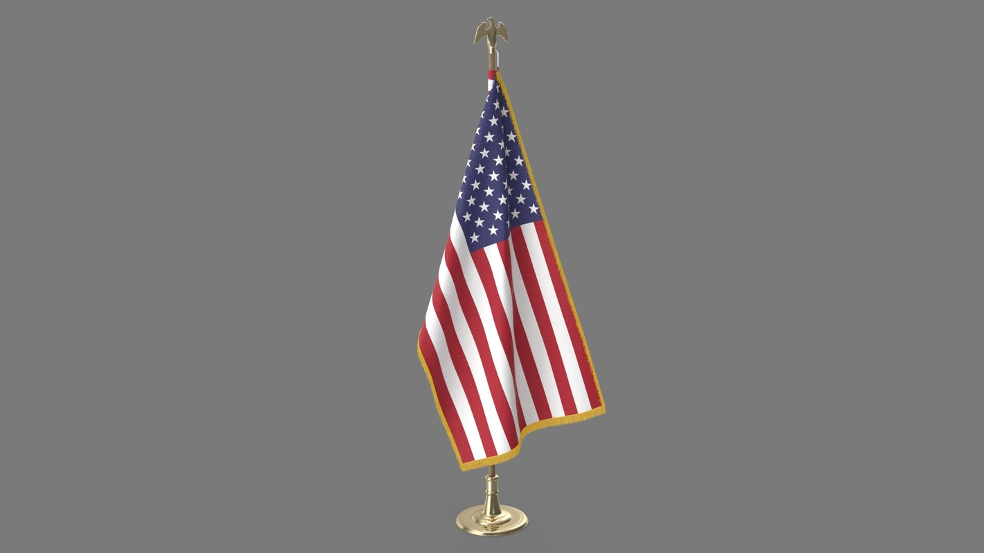 oval office usa flag 3D model
