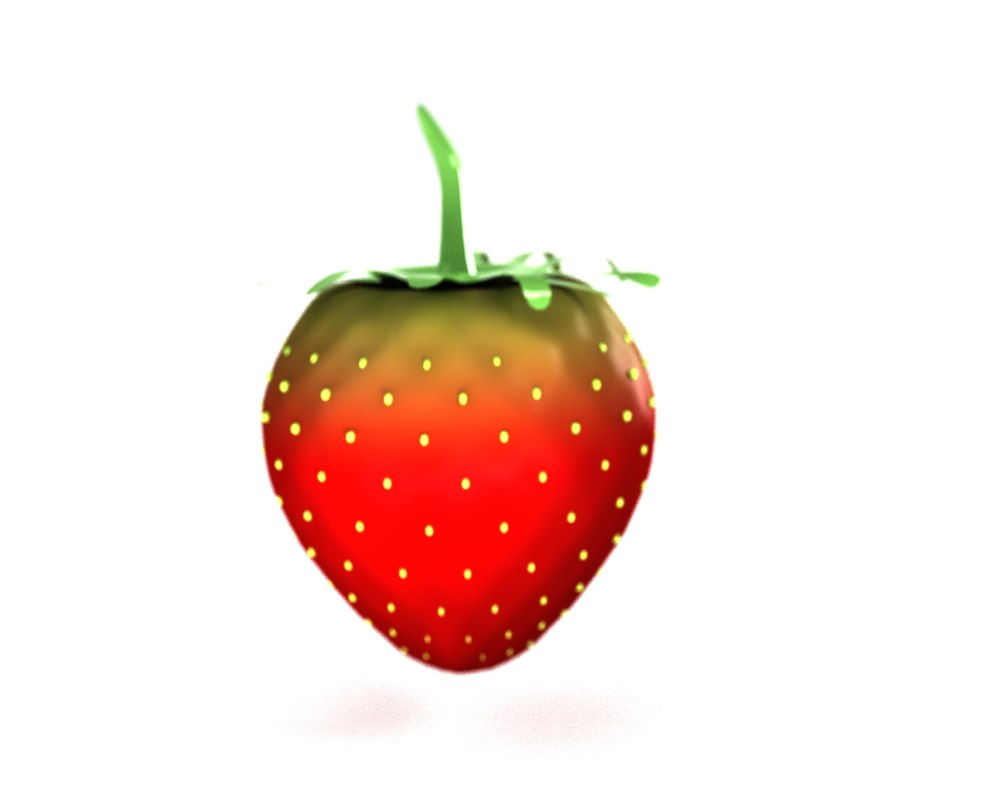 3D model strawberry photorealistic cartoon