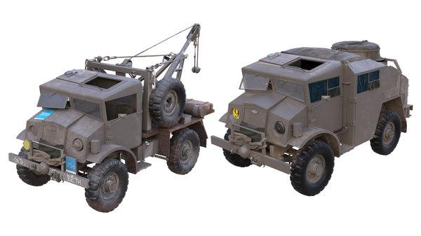 3D field artillery tractor 4x4 truck model