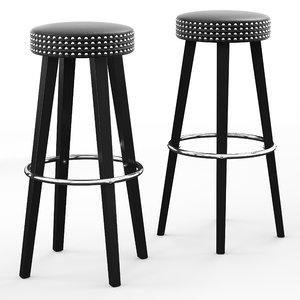 3D franklin wooden bar stool