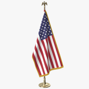 oval office usa flag 3D model