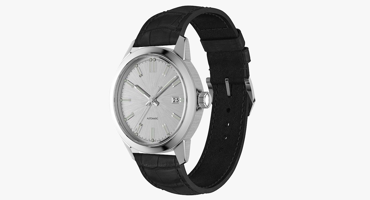 3D model realistic classic automatic watch