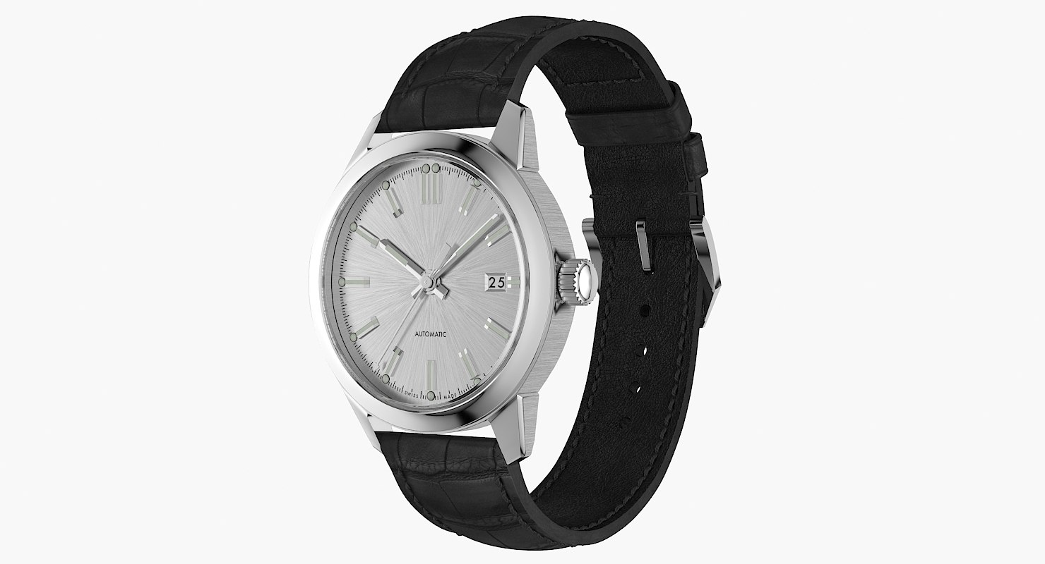 realistic classic automatic watch 3D